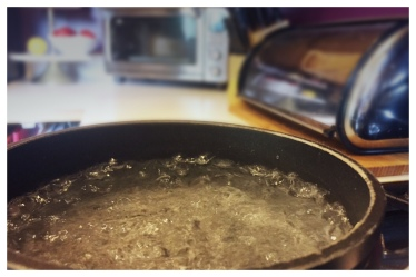small pot of water that just started boiling