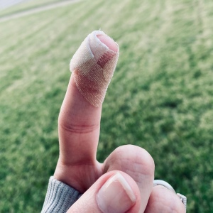 Index finger wrapped in a bandage